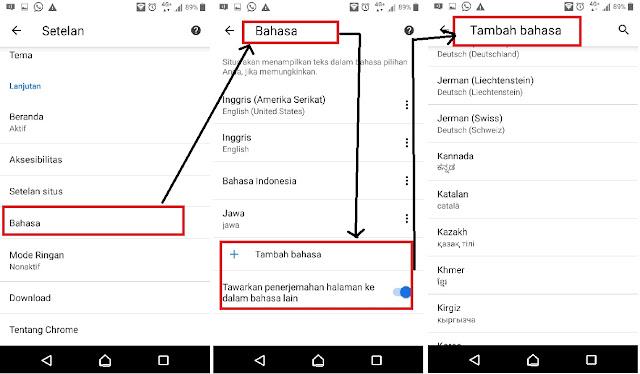 cara menambahkan bahasa di google chrome android