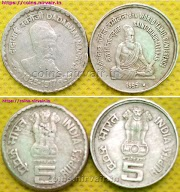 Sale: Rupees 5 Indian coins, 8th World Tamil Conference Saint Thiruvalluvar, Dadabhai Naoroji