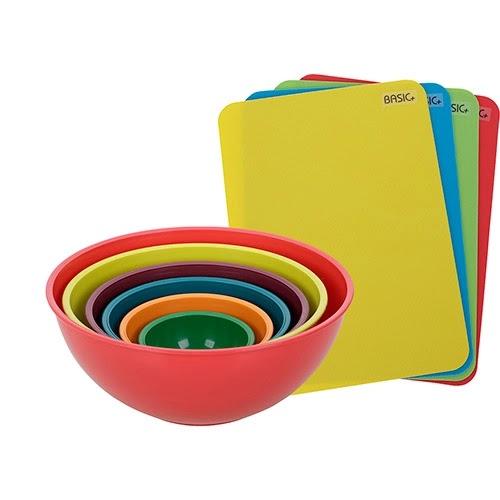 Conjunto de Tigelas 6 Peças + Tábuas de Corte Grandes 4 Peças Coloridos - Basic+