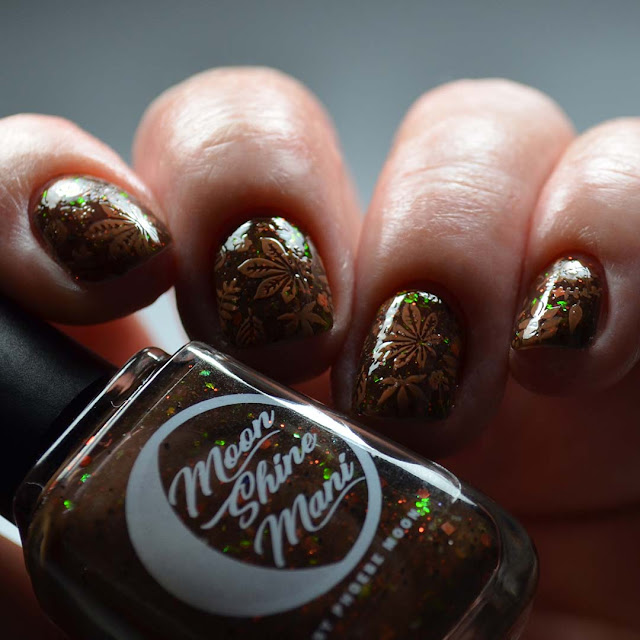 fall leaf nail art stamping low light photo