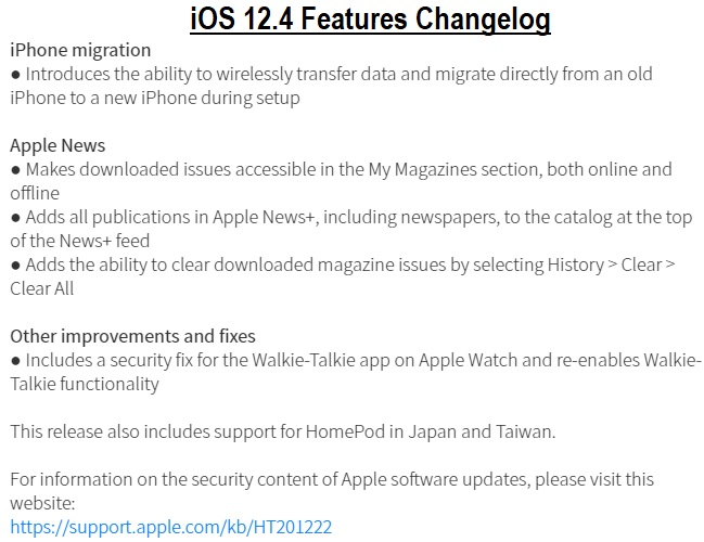 iOS 12.4 Changelog
