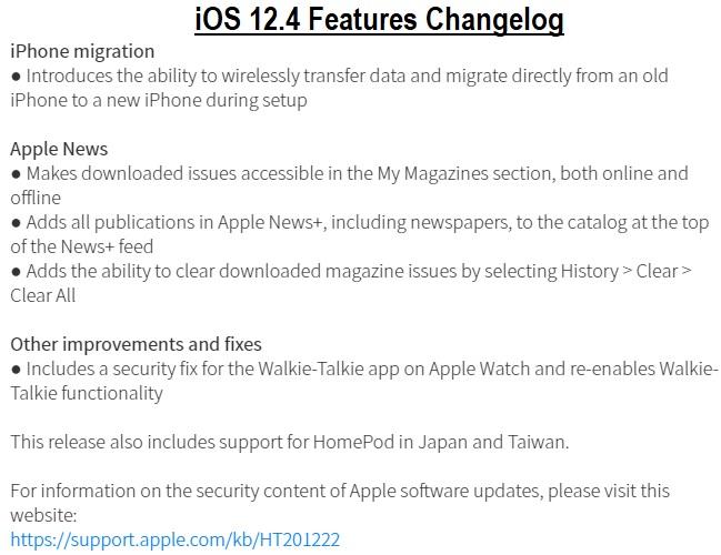 iOS 12.4 Changelog