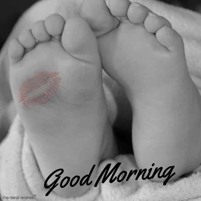 good morning with a feet baby kiss