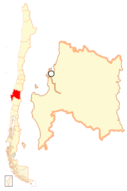 Mapa de localização da região de Bio Bio - Chile