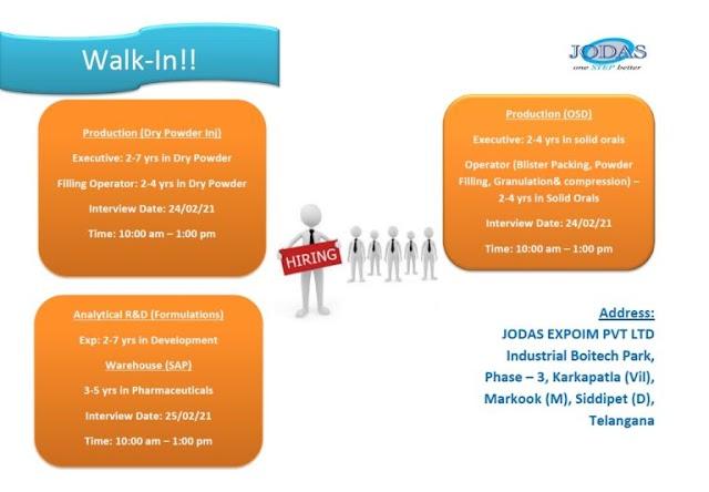 Jodas Expoim | Walk-in for Production/AR&D/Warehouse on 24th&25th Feb 2021