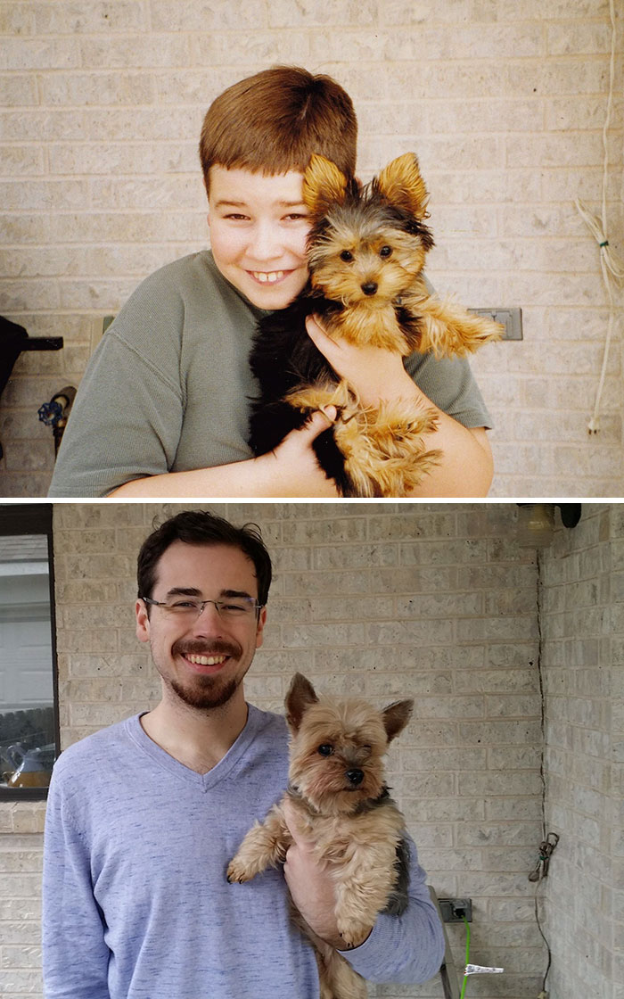 30 Heart-Warming Photos Of Dogs Growing Up Together With Their Owners - My Lifelong Companion And Friend, 2001 And 2014