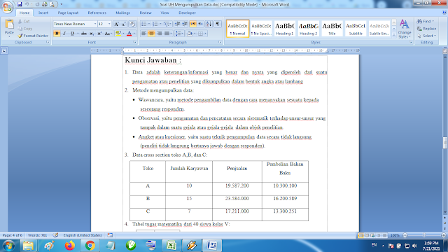 Download soal ulangan harian matematika kelas 5 semester 2 mengumpulkan data kurikulum k13 revisi terbaru