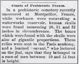 Noticia hallazgo huesos humanos gigantes en Montpellier - Oelwein Register 8 de Noviembre 1894