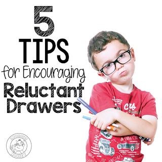 "5 Tips for Encouraging Reluctant Drawers - Did you ever have a student say, ""I can't draw""? Well, then this blog post is for you!"
