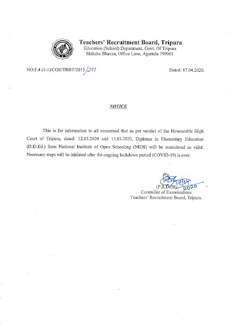 Notification of Teachers Recruitment Board Tripaura dated regarding the validity of the D.El.Ed. Course