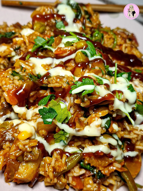 Sticky BBQ Dirty Rice Recipe   Low Calorie Slimming Friendly