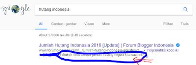 Contoh meta description pada hasil pencarian Google