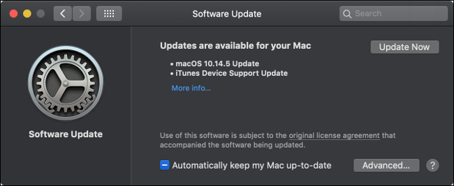 تثبيت تحديثات macOS