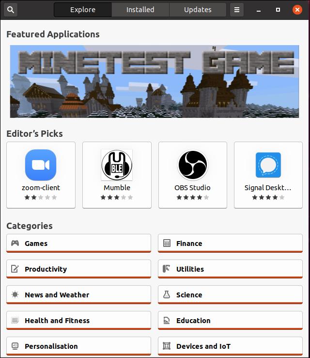 أوبونتو 20.04 النافذة الرئيسية لتطبيق البرامج المفاجئة