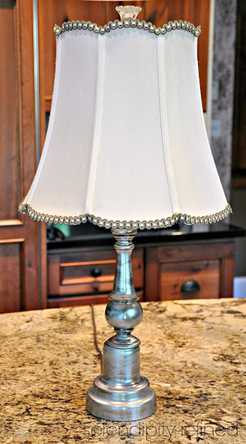Rub 'n Buff Lamp Brass to Silver Makeover by Serendipity Refined