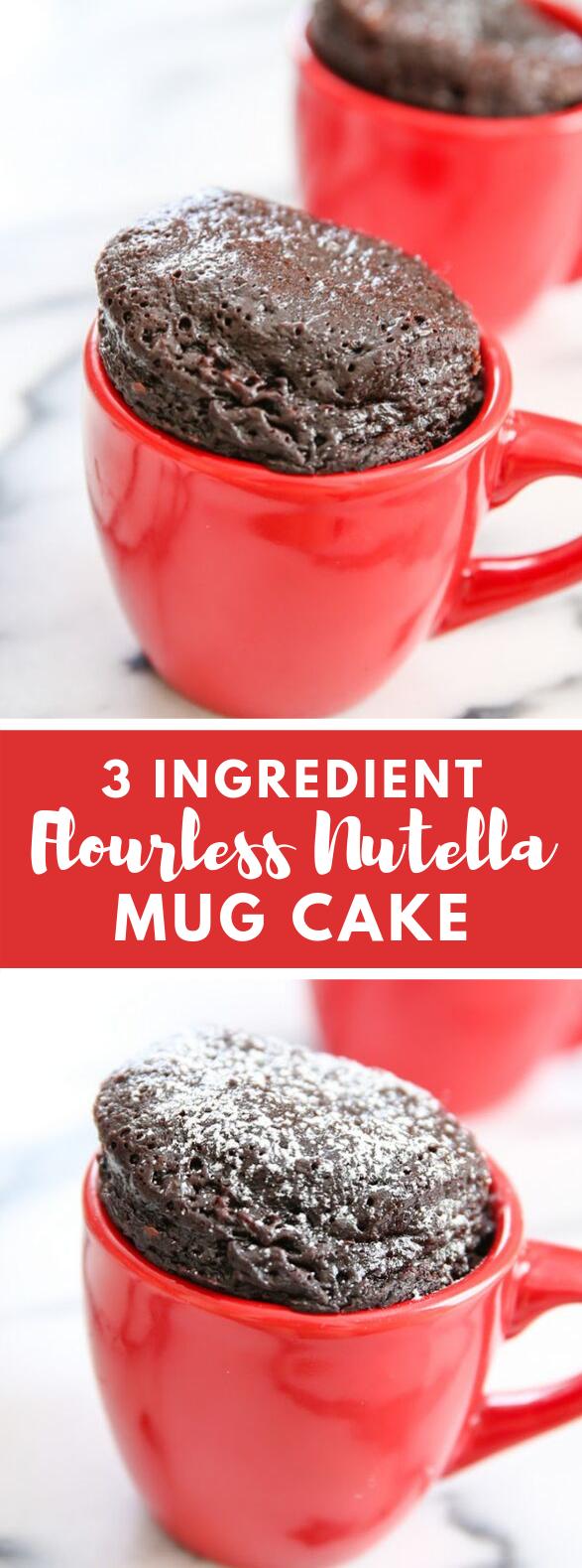 3 INGREDIENT FLOURLESS NUTELLA MUG CAKE #desserts #chocolate