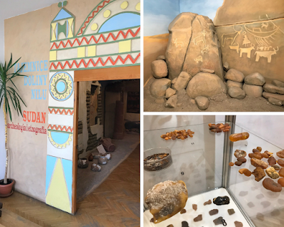 collage of 3 images from the gdansk archaeology museum: 2x sudanese patterns and some amber