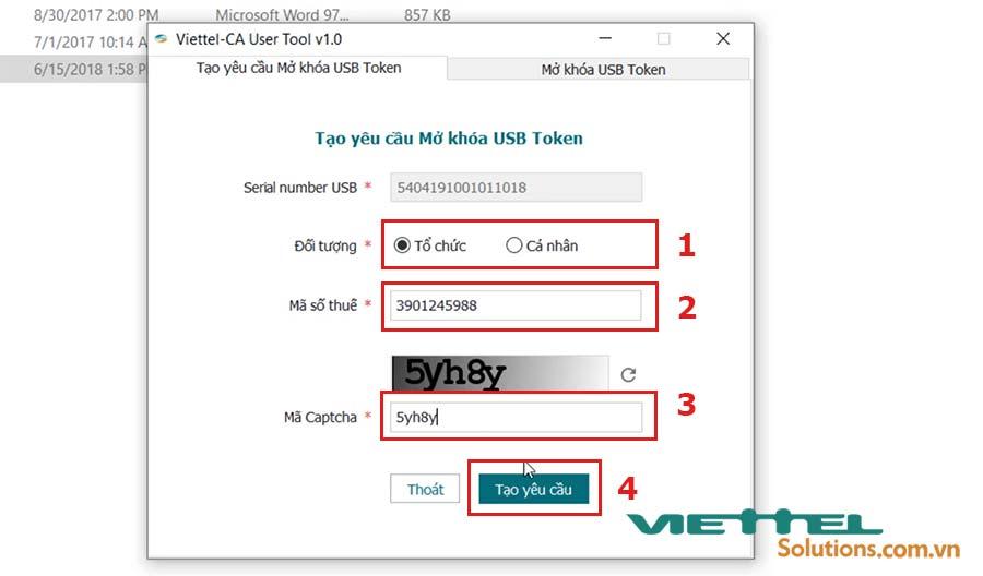 Hình 5 - Tạo yêu cầu mở khóa mã PIN USB token Viettel
