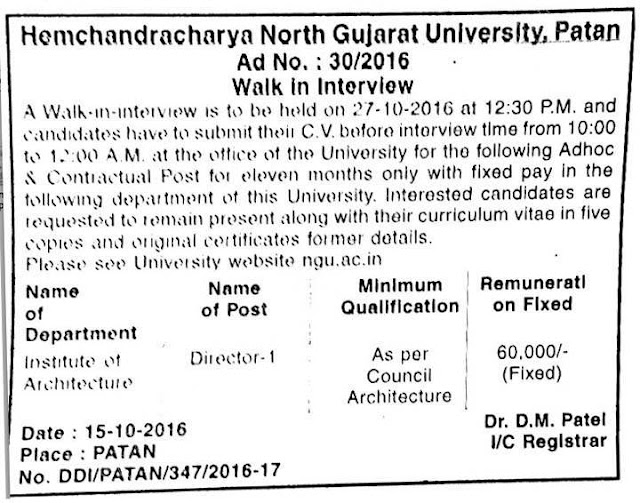 Hemchandracharya North Gujarat University Recruitment 2016 for Director