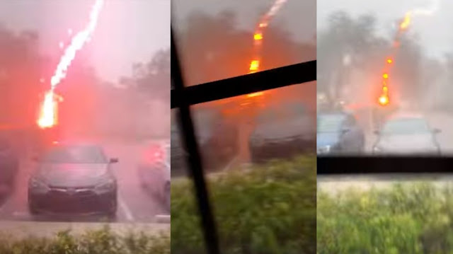 Boynton woman's video captures rare 'positive' lightning bolt  Lightning