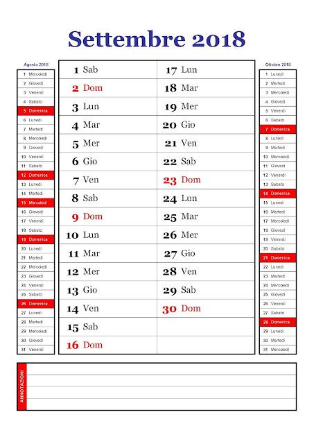 calendario mensile settembre 2018