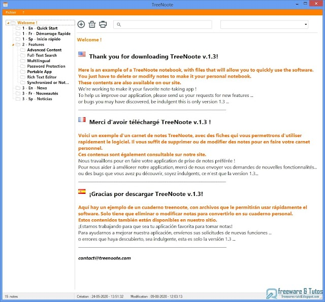 TreeNoote : nouvelle version enrichie de ce logiciel de prise de notes épatant !