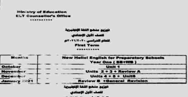 توزيع منهج اللغة الانجليزية للصف الاول الإعدادي 2021