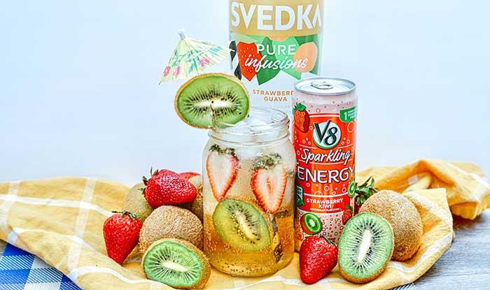 Strawberry Kiwi Vodka Drink Recipe With V8 Sparkling Energy