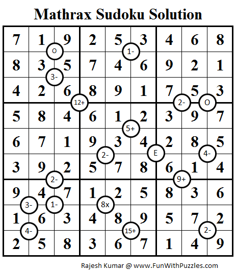 Mathrax Sudoku (Daily Sudoku League #81) Solution