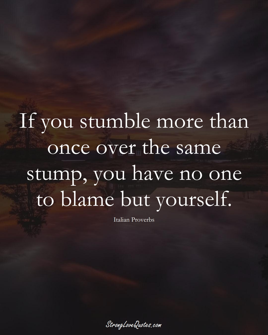 If you stumble more than once over the same stump, you have no one to blame but yourself. (Italian Sayings);  #EuropeanSayings