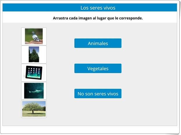 """""""Los seres vivos: Animales, plantas y seres inertes"""" (Actividad interactiva de Ciencias Naturales de Primaria)"""