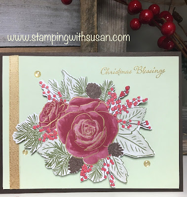 Stampin' Up!, Christmas is Here, www.stampingwithsusan.com, Christmas Cards, Christmas Rose,