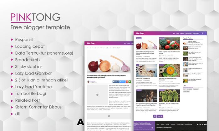 PinkTong, Template Blogger Sederhana, template blogger terbaik 2019, template blogger gratis