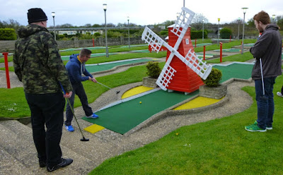 Playing a windmill hole in Skegness on a previous National Miniature Golf Day
