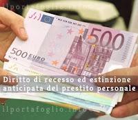 estinzione anticipata e diritto di recesso prestiti