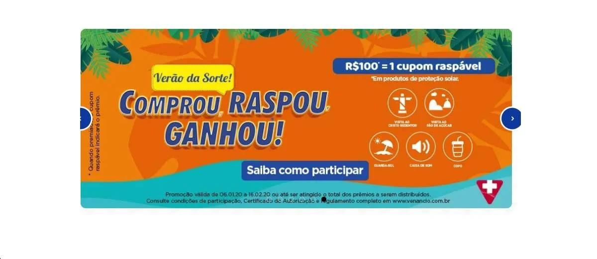 Promoção Drogaria Venancio Verão 2020 Raspou Ganhou