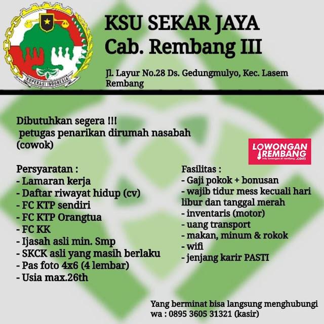 Lowongan Kerja Petugas Penarikan KSU Sekar Jaya Cabang Rembang 3