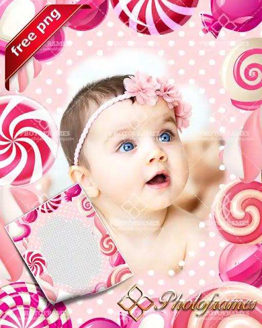 Marco para fotos color rosa decorado con dulces y paletas