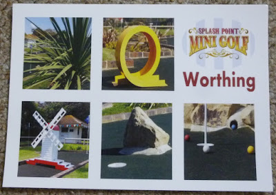 One of two postcard designs you can find at Splash Point Mini Golf in Worthing