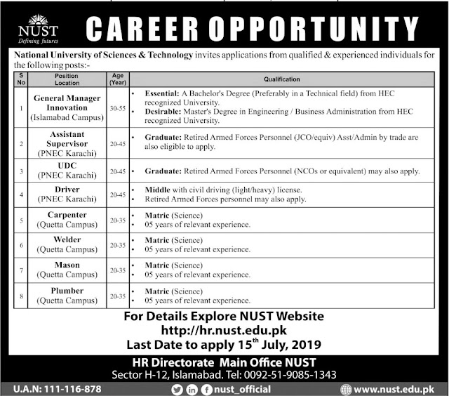 Jobs In National University Of Science And Technology 03 July 2019