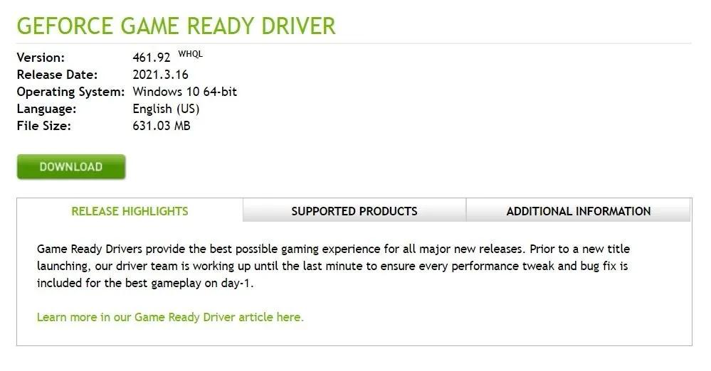 آخر تحديث لبرامج تشغيل Nvidia