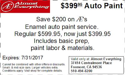 Coupon $399.95 Auto Paint Sale July 2017