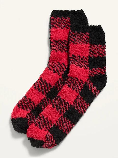 Red and Black Plaid Cozy, Fluffy Socks