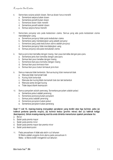 Kumpulan Soal Tes Psikotes CPNS + Kunci Jawaban (Logika Formal)