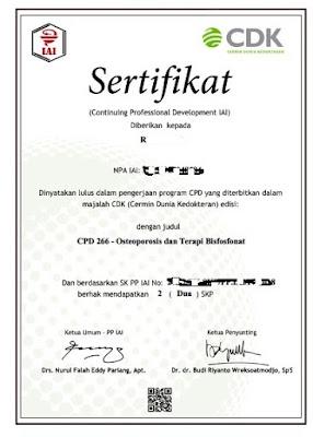 Contoh sertifikat CPD online Pharmacist dari website kalbe med