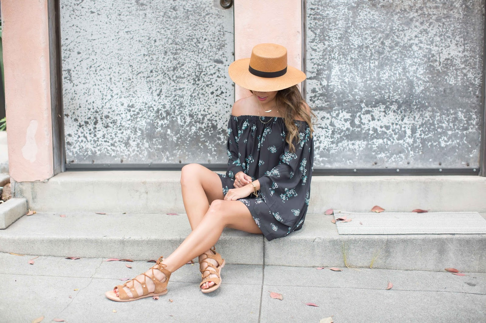 how to wear off the shoulder, janessa leone hat, chicwish dresses