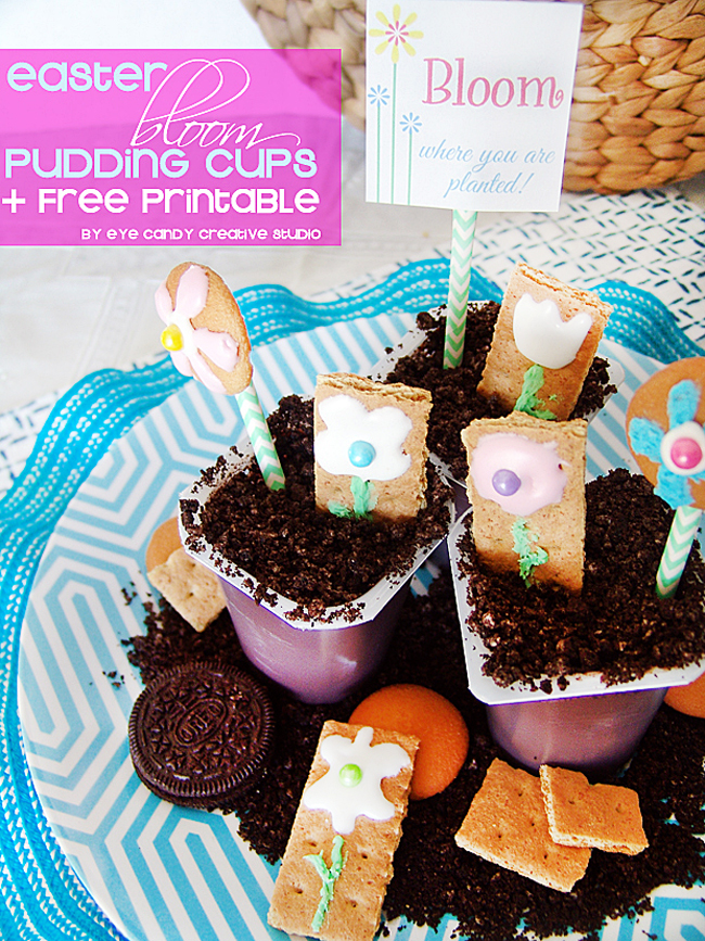 flower cookies, snack packs, pudding cups, spring bloom where you are planted