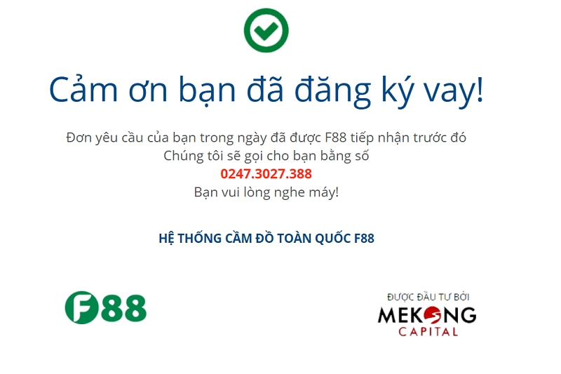 Hướng dẫn cầm đồ F88 online, Nhận tiền tại nhà chỉ sau 30 phút
