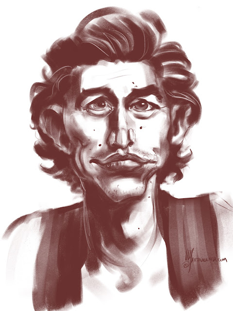 Adam Driver is a caricature by Artmagenta