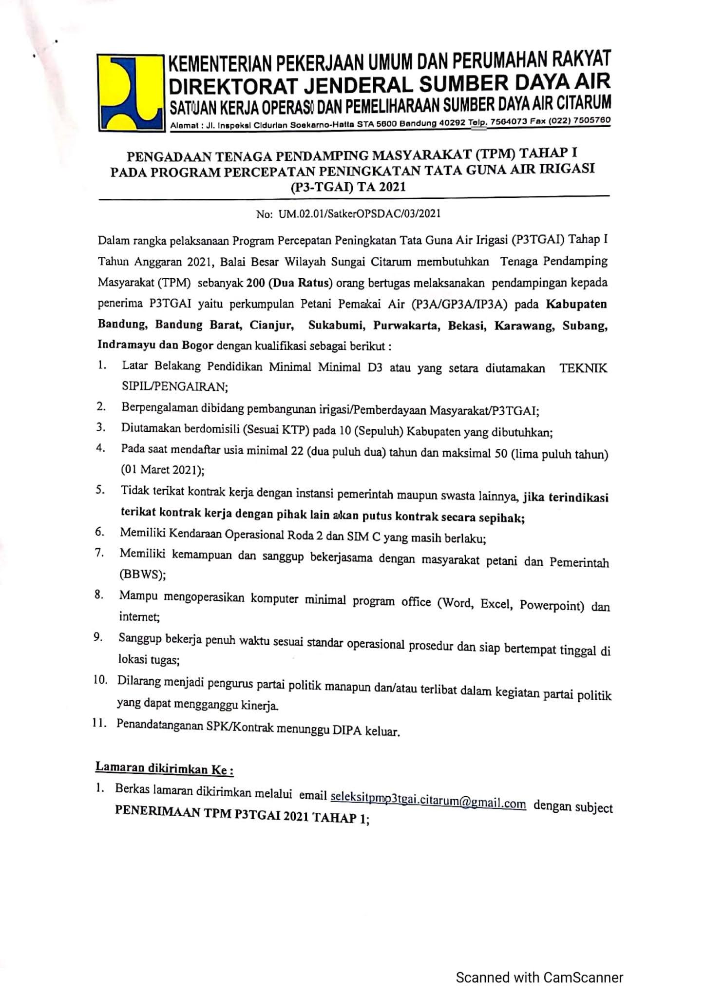 Lowongan Kerja Tenaga Pendamping Masyarakat Direktorat Jenderal Sumber Daya Air Kementerian PUPR Tahun 2021
